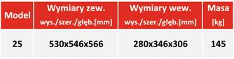 Sejf na nośniki danych DataGuard 25 - tabela z wymiarami