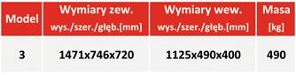 Sejf ognioodporny na nośniki danych DataPlus 3 - tabela z wymiarami