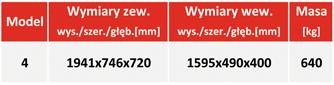 Sejf ognioodporny na nośniki danych DataPlus 4 - tabela z wymiarami